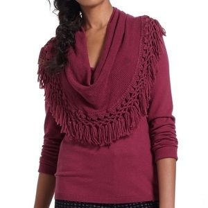 Anthro Angel of the North Fringe Cowl Neck Sweater